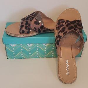 Anna Leopard Pony Hair Sandals Size 9